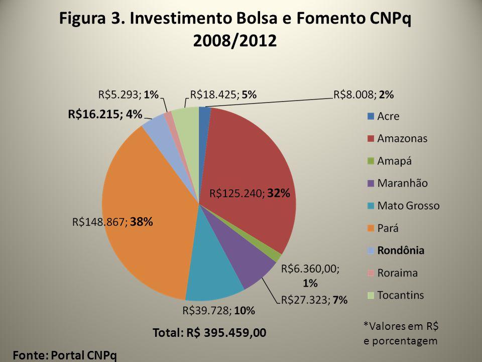 Figura 3. Investimento Bolsa e Fomento CNPq 2008/2012