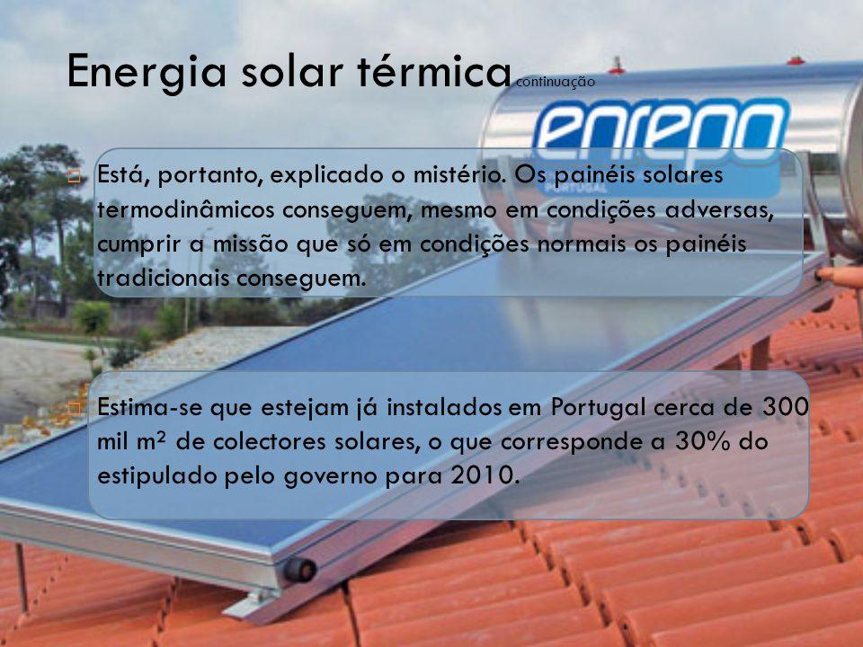 Energia solar térmica continuação