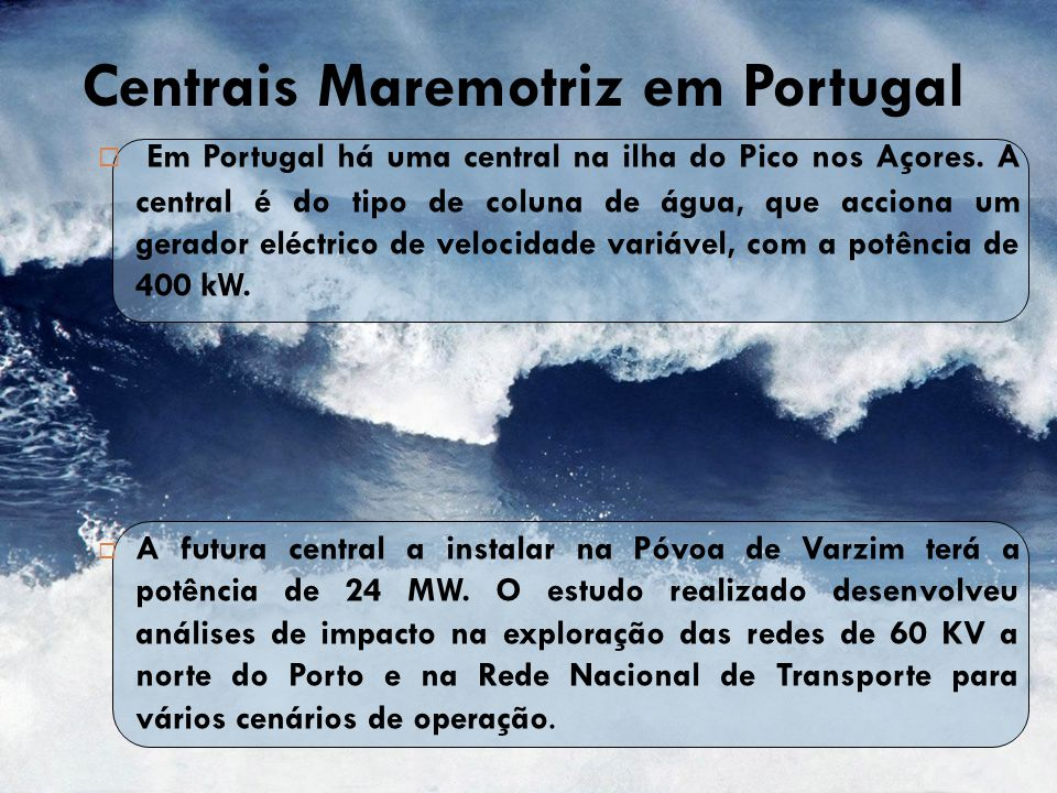 Centrais Maremotriz em Portugal
