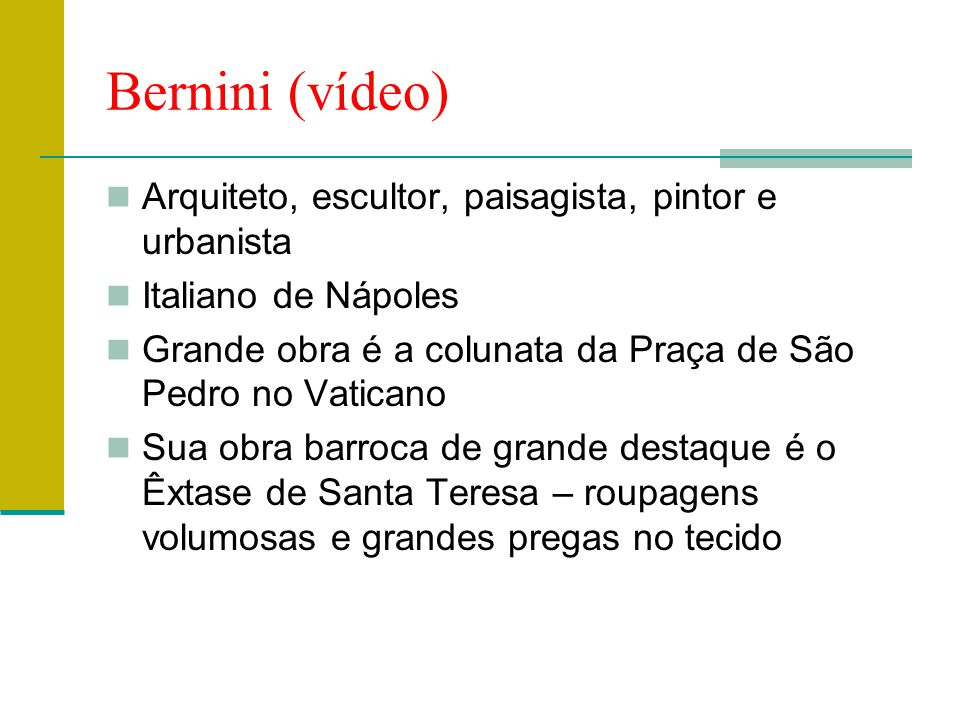 Bernini (vídeo) Arquiteto, escultor, paisagista, pintor e urbanista