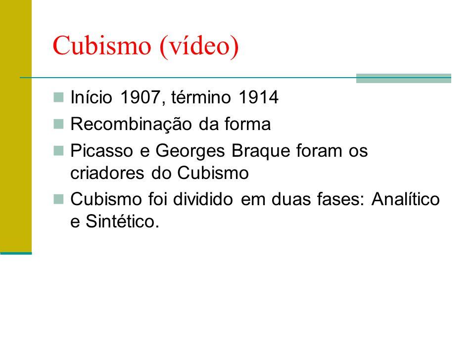 Cubismo (vídeo) Início 1907, término 1914 Recombinação da forma