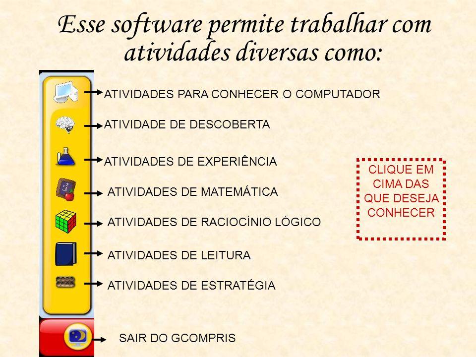 Esse software permite trabalhar com atividades diversas como: