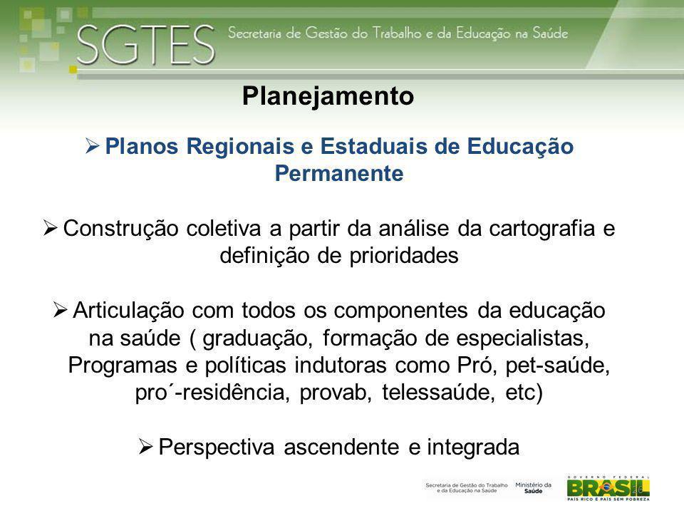 Planos Regionais e Estaduais de Educação Permanente