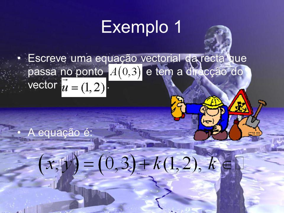 Exemplo 1 Escreve uma equação vectorial da recta que passa no ponto e tem a direcção do vector .