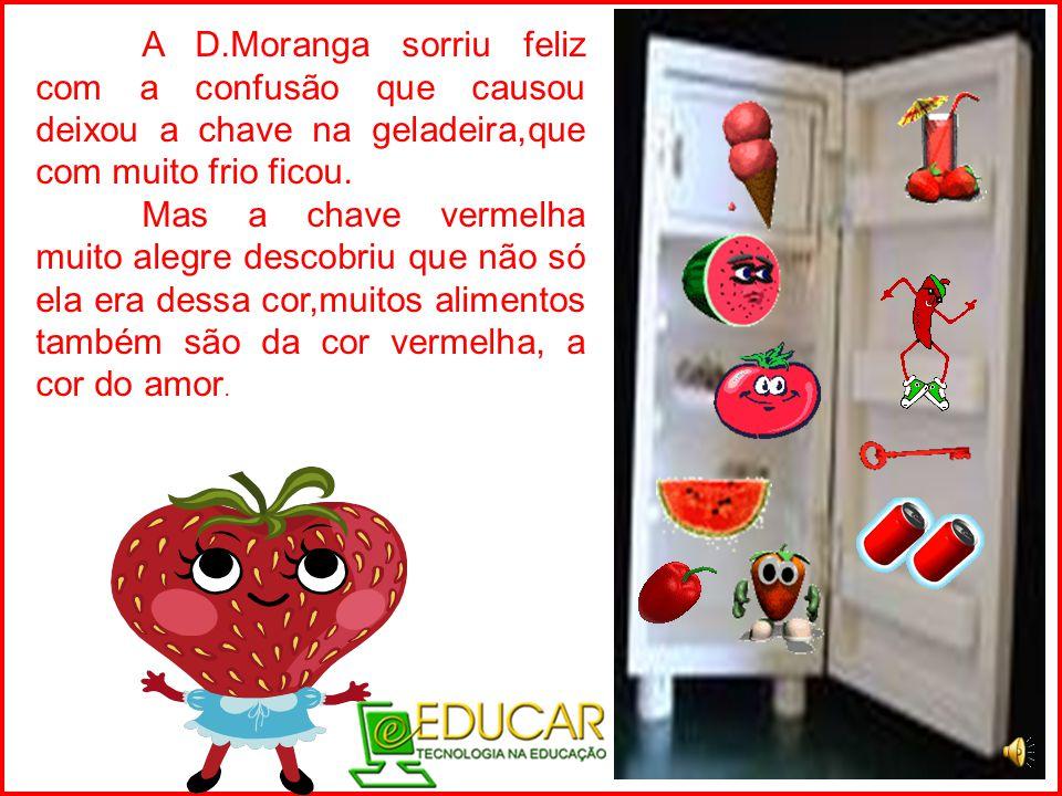 A D.Moranga sorriu feliz com a confusão que causou deixou a chave na geladeira,que com muito frio ficou.