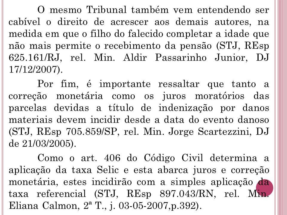 O mesmo Tribunal também vem entendendo ser cabível o direito de acrescer aos demais autores, na medida em que o filho do falecido completar a idade que não mais permite o recebimento da pensão (STJ, REsp 625.161/RJ, rel.