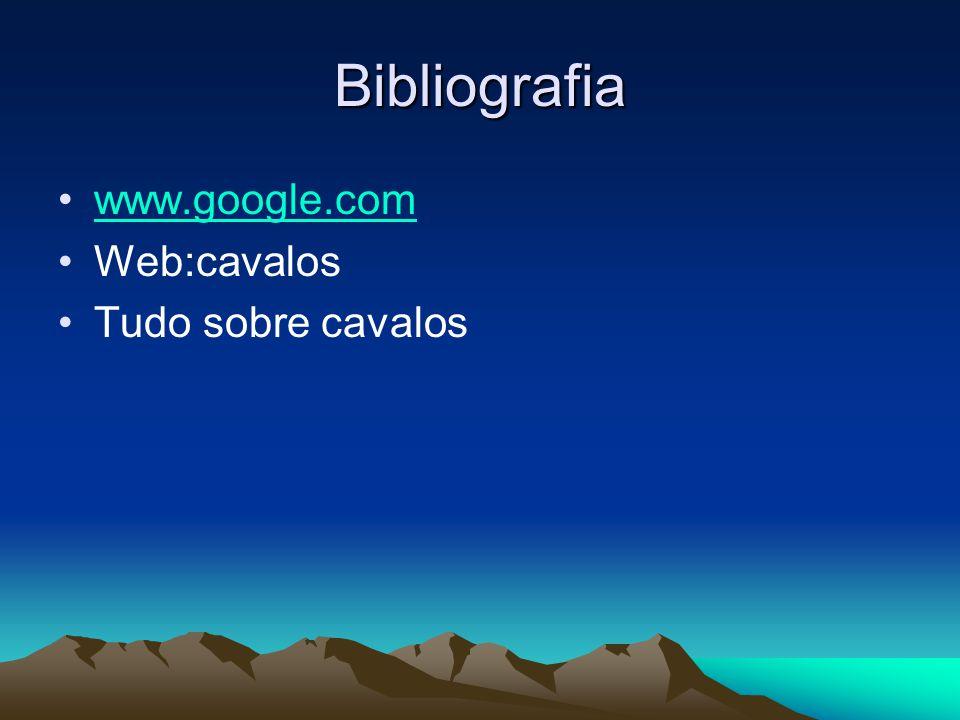 Bibliografia www.google.com Web:cavalos Tudo sobre cavalos