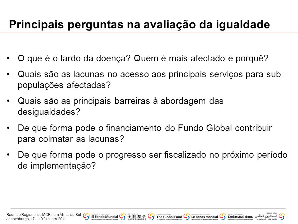 Principais perguntas na avaliação da igualdade