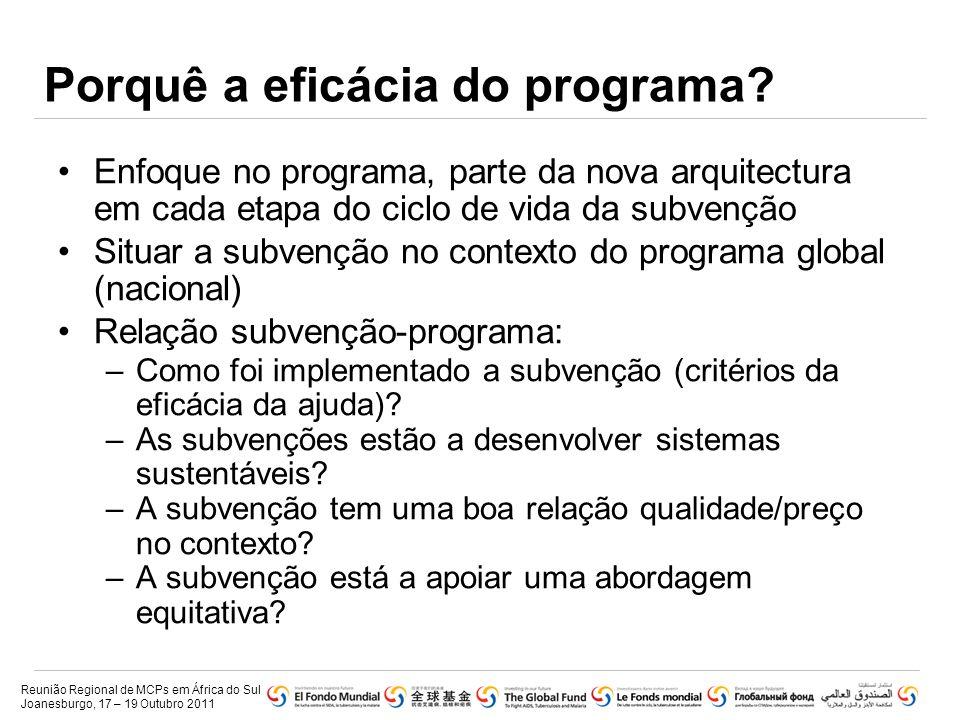 Porquê a eficácia do programa