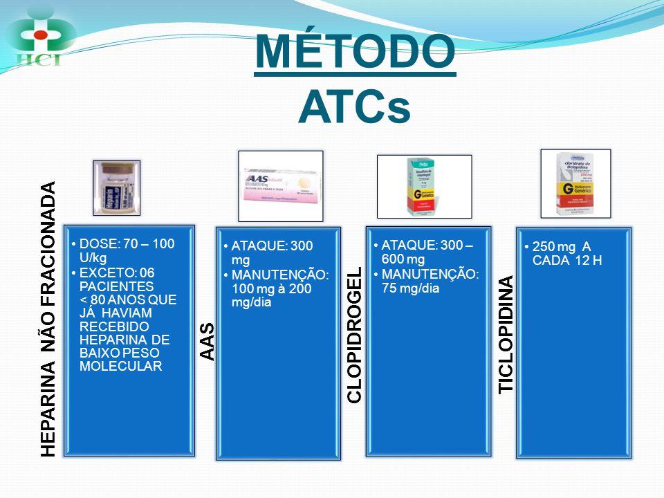 MÉTODO ATCs HEPARINA NÃO FRACIONADA AAS CLOPIDROGEL TICLOPIDINA