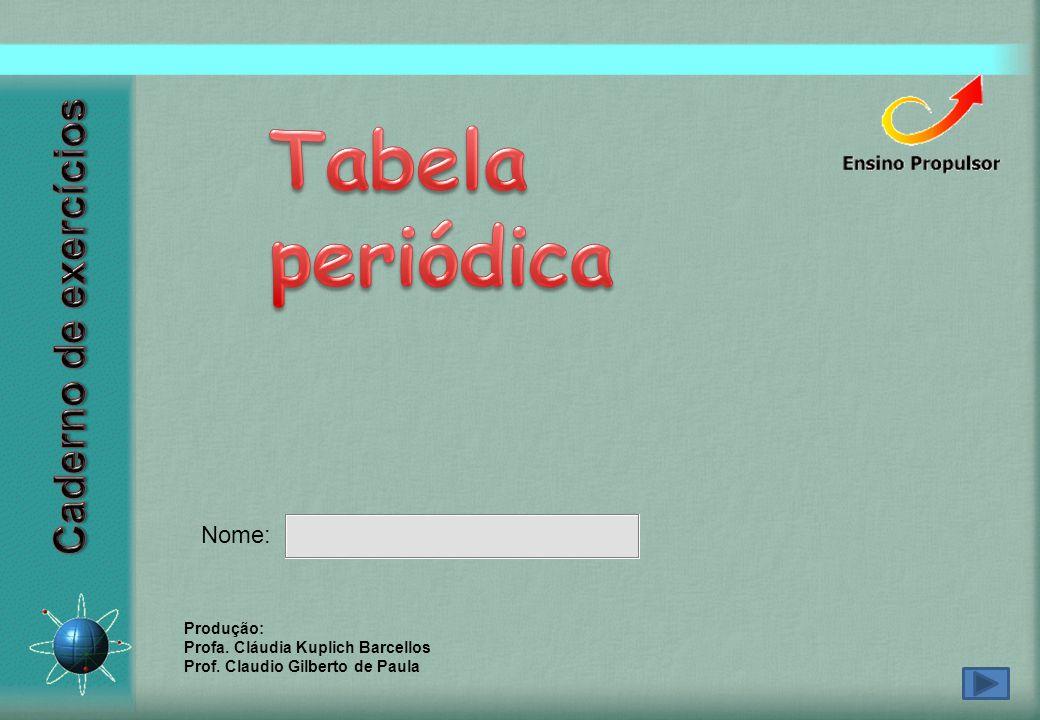 Tabela periódica Caderno de exercícios Nome: Produção: