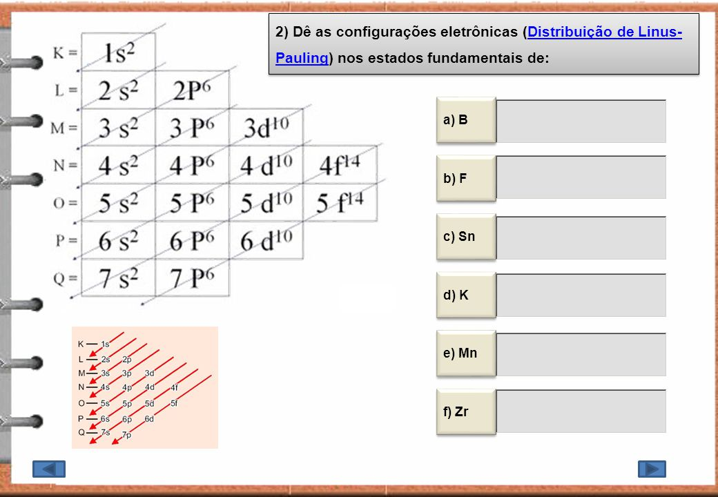 2) Dê as configurações eletrônicas (Distribuição de Linus-Pauling) nos estados fundamentais de: