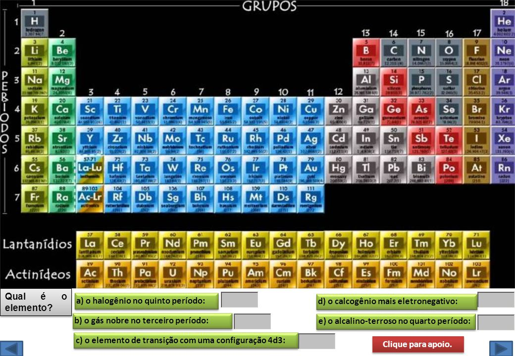 Qual é o elemento a) o halogênio no quinto período: d) o calcogênio mais eletronegativo: b) o gás nobre no terceiro período: