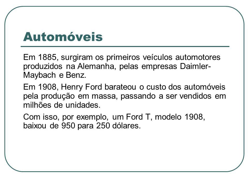 Automóveis Em 1885, surgiram os primeiros veículos automotores produzidos na Alemanha, pelas empresas Daimler-Maybach e Benz.