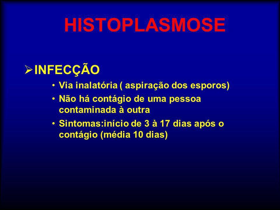 HISTOPLASMOSE INFECÇÃO Via inalatória ( aspiração dos esporos)