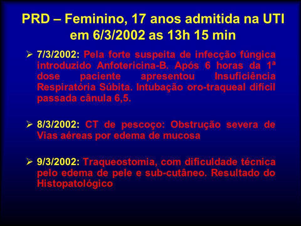 PRD – Feminino, 17 anos admitida na UTI em 6/3/2002 as 13h 15 min