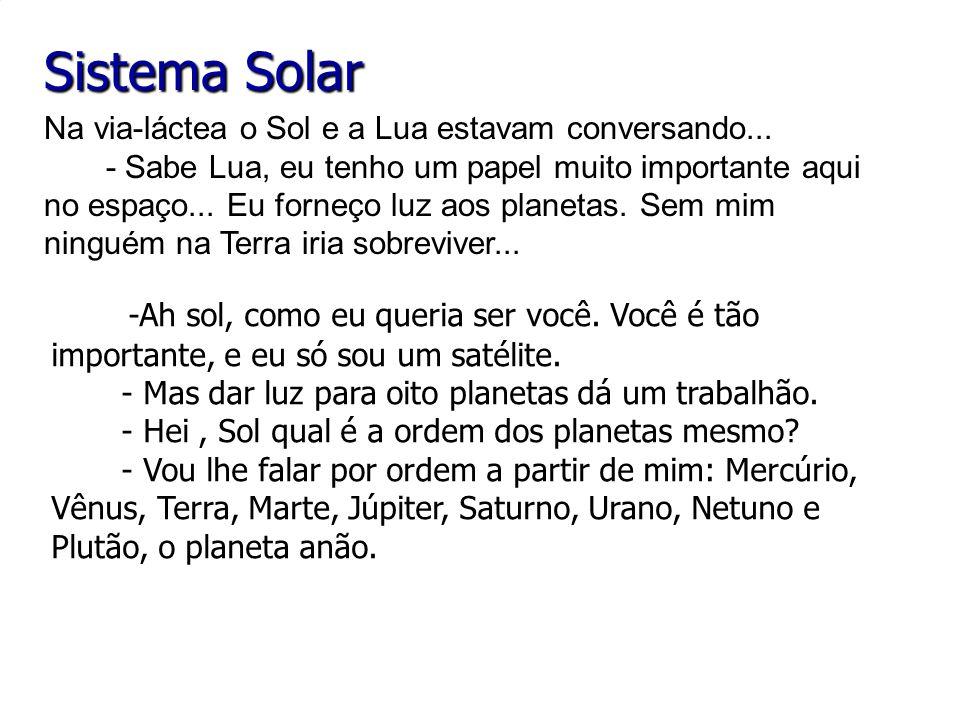 Sistema Solar Na via-láctea o Sol e a Lua estavam conversando...