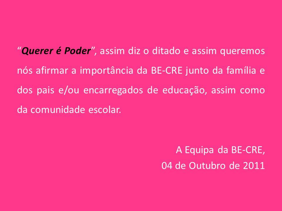 Querer é Poder , assim diz o ditado e assim queremos nós afirmar a importância da BE-CRE junto da família e dos pais e/ou encarregados de educação, assim como da comunidade escolar.