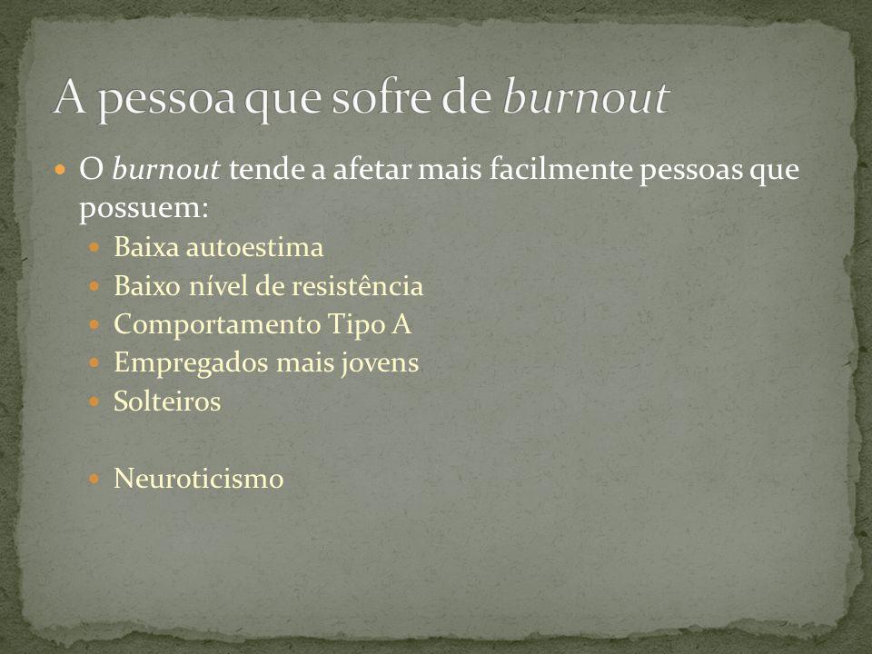 A pessoa que sofre de burnout