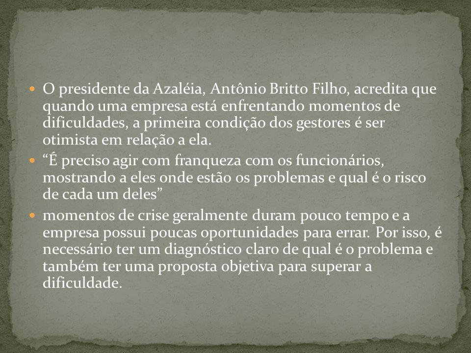 O presidente da Azaléia, Antônio Britto Filho, acredita que quando uma empresa está enfrentando momentos de dificuldades, a primeira condição dos gestores é ser otimista em relação a ela.