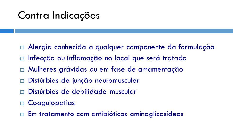 Contra Indicações Alergia conhecida a qualquer componente da formulação. Infecção ou inflamação no local que será tratado.