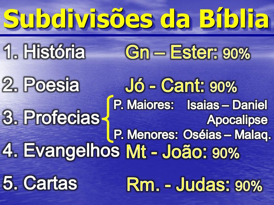 Subdivisões da Bíblia História Gn – Ester: 90% Poesia Profecias