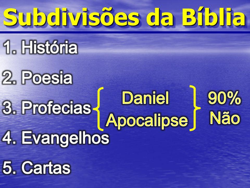 Subdivisões da Bíblia História Poesia Profecias Evangelhos Cartas