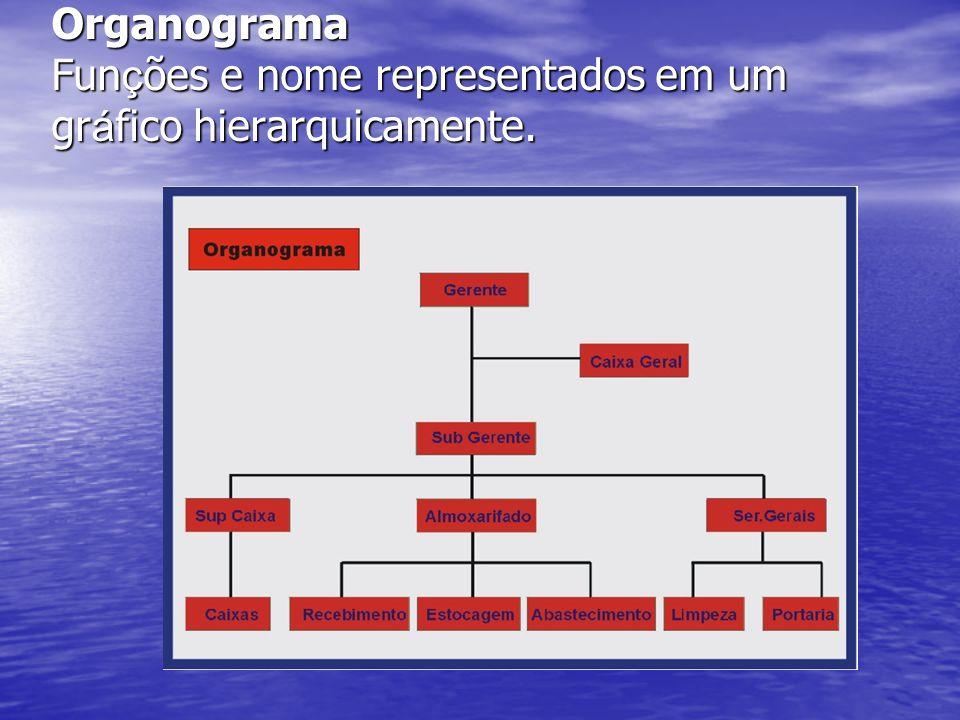 Organograma Funções e nome representados em um gráfico hierarquicamente.