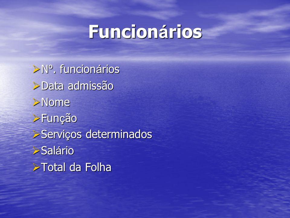 Funcionários Nº. funcionários Data admissão Nome Função