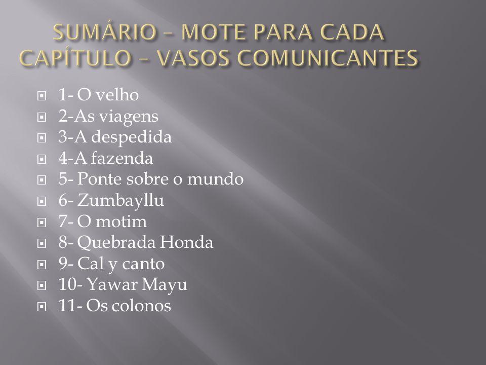 SUMÁRIO – MOTE PARA CADA CAPÍTULO – VASOS COMUNICANTES
