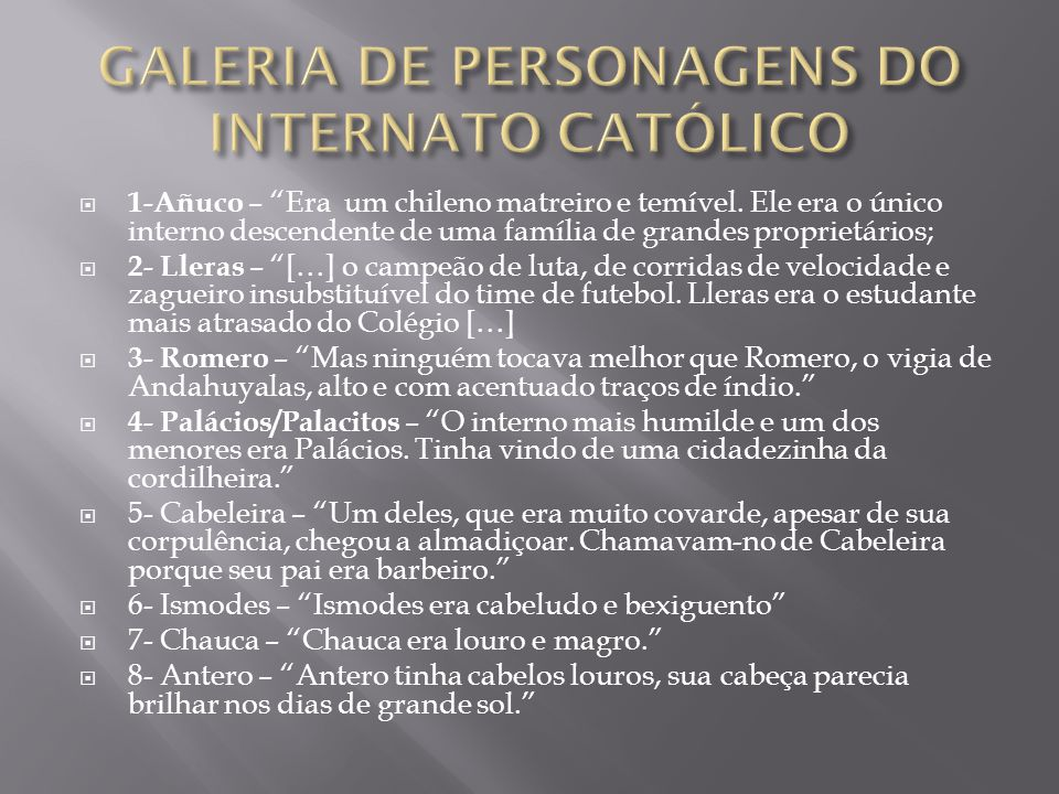 GALERIA DE PERSONAGENS DO INTERNATO CATÓLICO