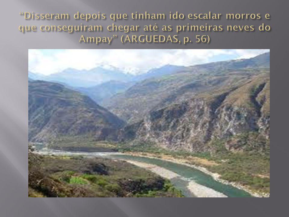 Disseram depois que tinham ido escalar morros e que conseguiram chegar até as primeiras neves do Ampay (ARGUEDAS, p.