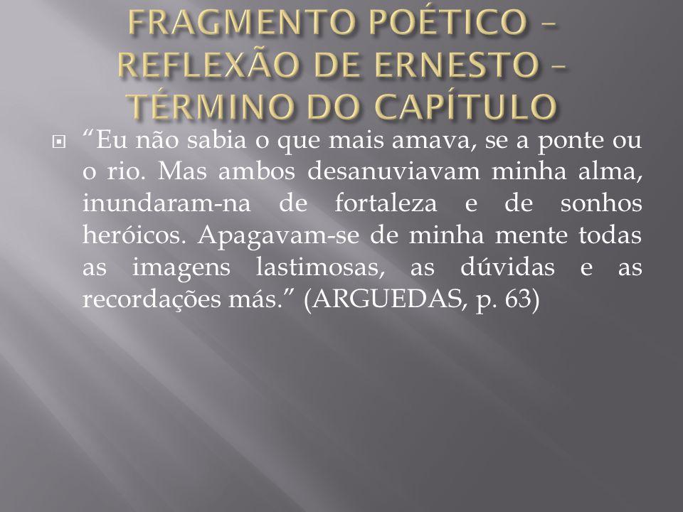 FRAGMENTO POÉTICO – REFLEXÃO DE ERNESTO – TÉRMINO DO CAPÍTULO