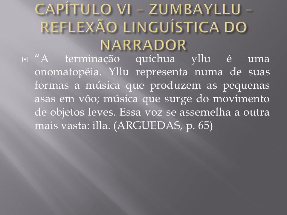 CAPÍTULO VI – ZUMBAYLLU – REFLEXÃO LINGUÍSTICA DO NARRADOR