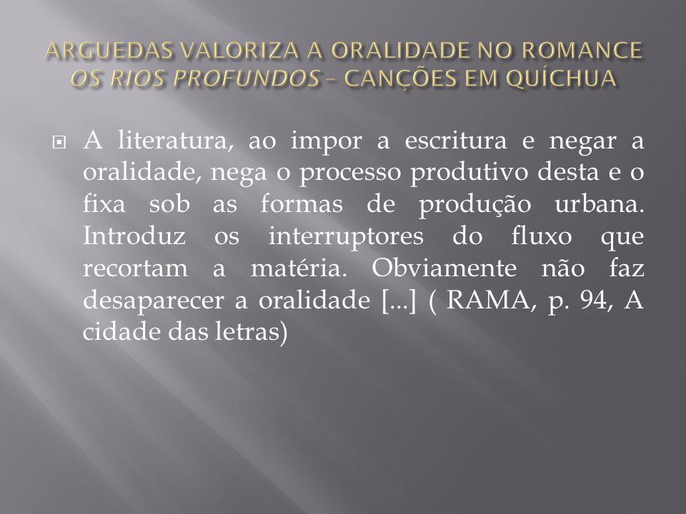 ARGUEDAS VALORIZA A ORALIDADE NO ROMANCE OS RIOS PROFUNDOS – CANÇÕES EM QUÍCHUA
