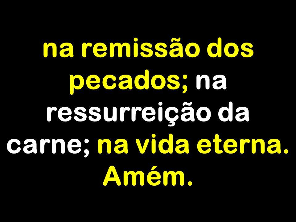 na remissão dos pecados; na ressurreição da carne; na vida eterna. Amém.