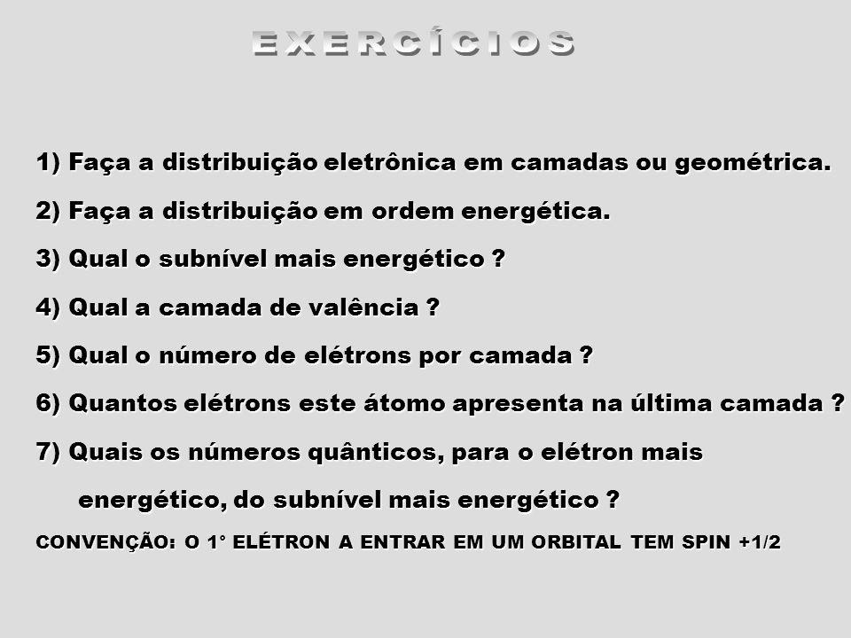 EXERCÍCIOS 1) Faça a distribuição eletrônica em camadas ou geométrica.