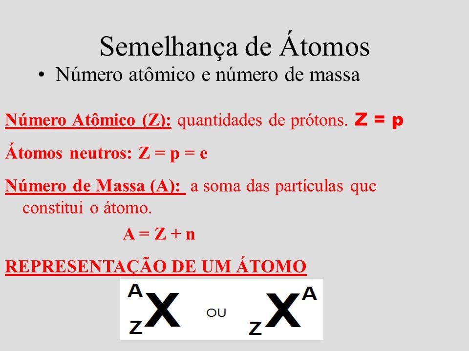 Semelhança de Átomos Número atômico e número de massa