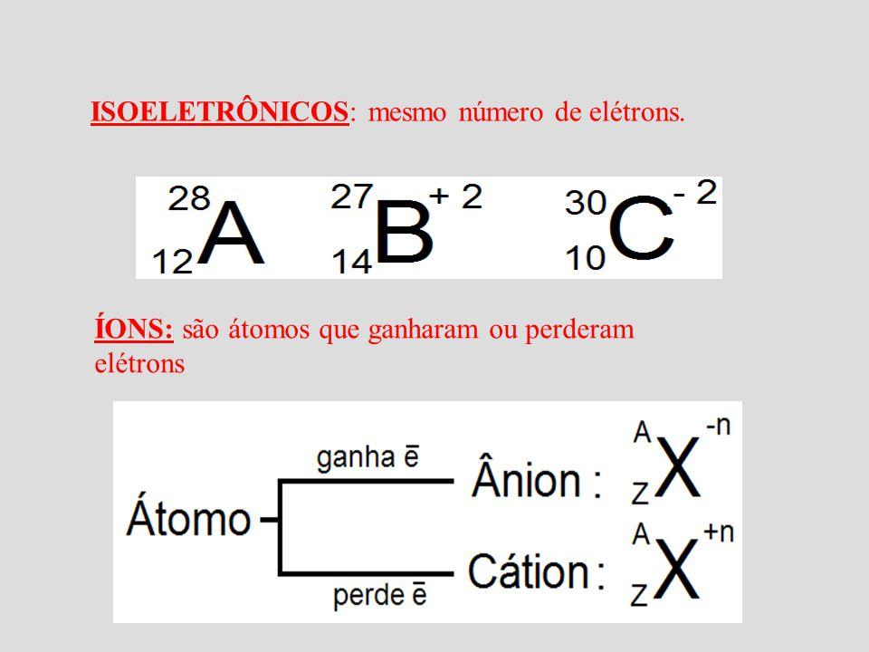 ISOELETRÔNICOS: mesmo número de elétrons.