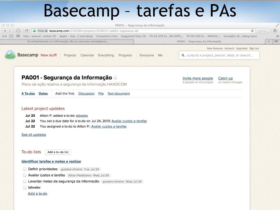 Basecamp – tarefas e PAs