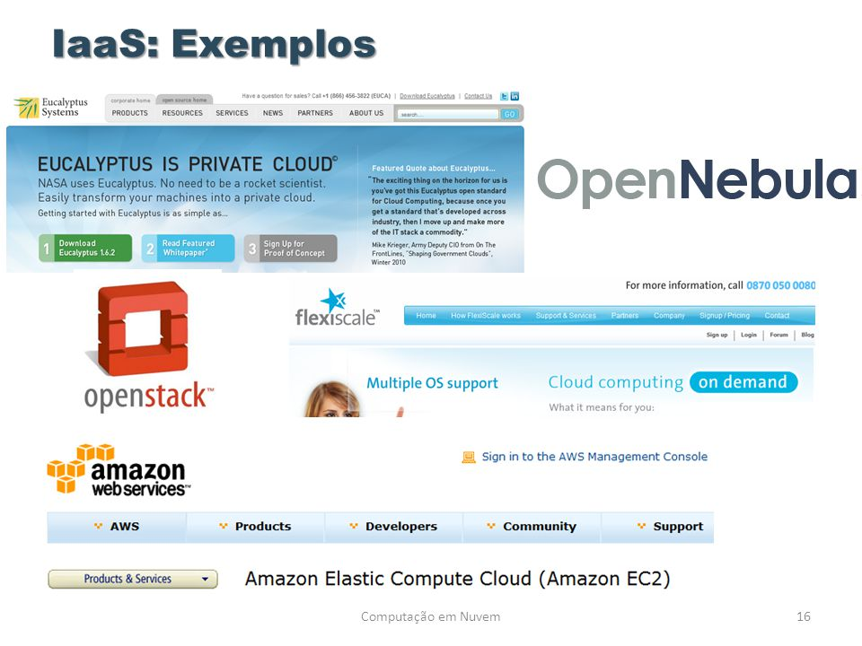 IaaS: Exemplos Computação em Nuvem