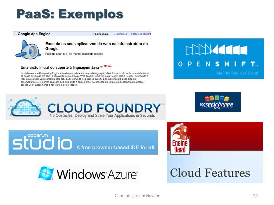 PaaS: Exemplos Computação em Nuvem