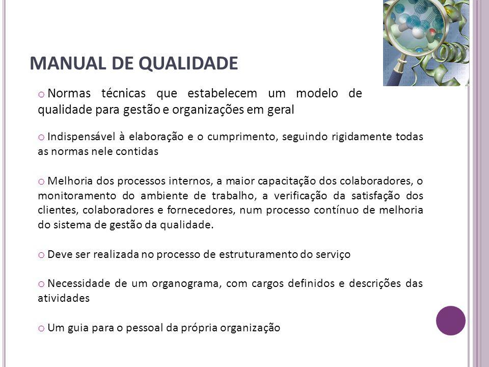 MANUAL DE QUALIDADE Normas técnicas que estabelecem um modelo de qualidade para gestão e organizações em geral.