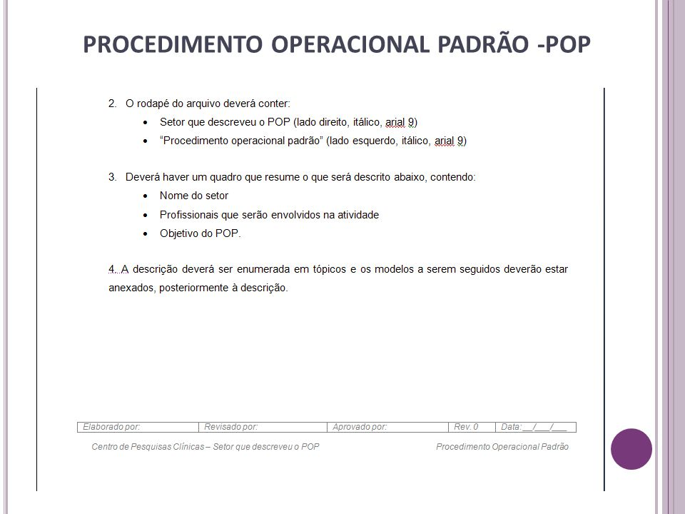 PROCEDIMENTO OPERACIONAL PADRÃO -POP