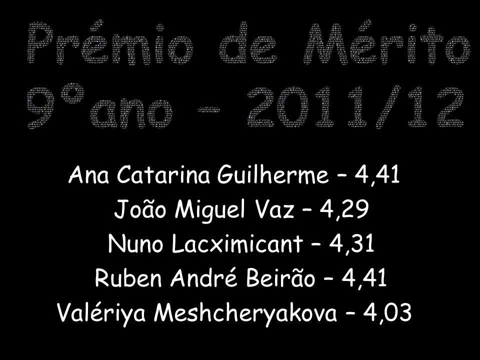 9ºano – 2011/12 Prémio de Mérito Ana Catarina Guilherme – 4,41