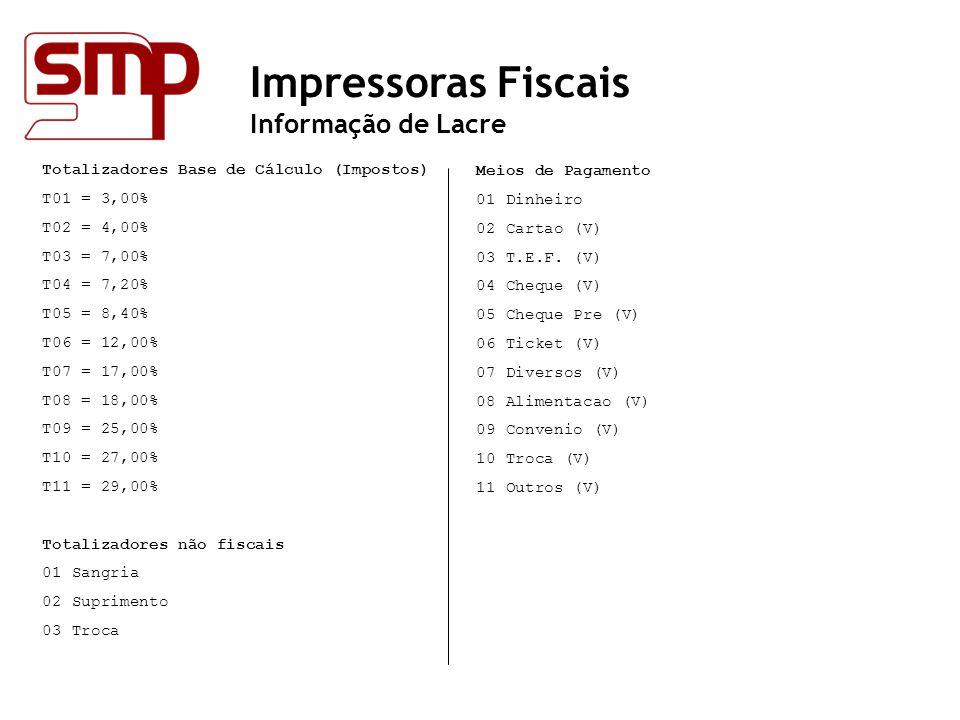 Impressoras Fiscais Informação de Lacre