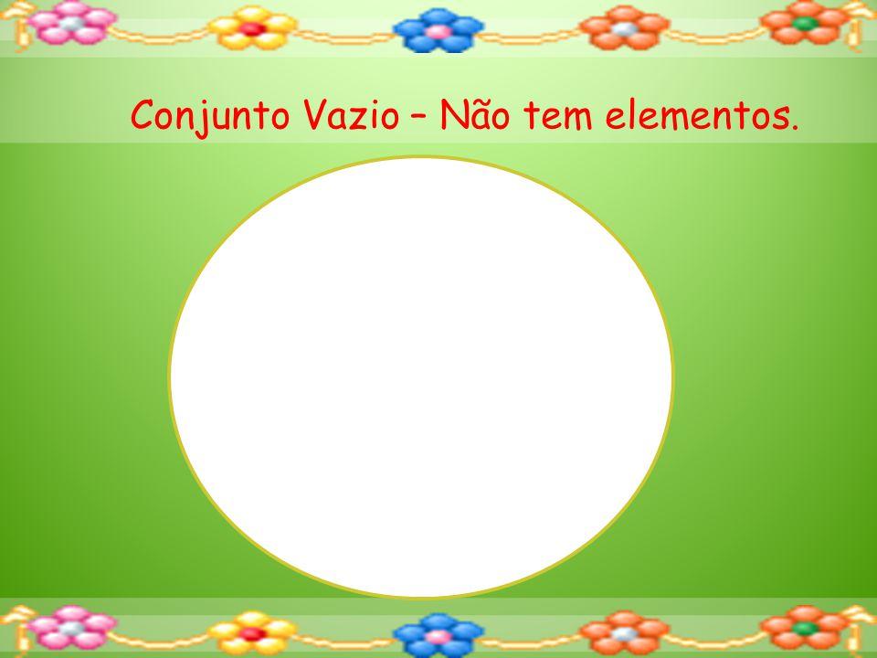Conjunto Vazio – Não tem elementos.