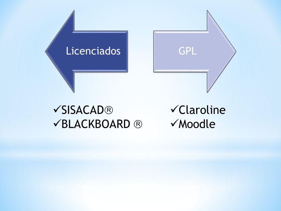 Licenciados GPL SISACAD BLACKBOARD  Claroline Moodle