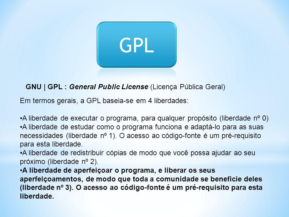 GPL GNU | GPL : General Public License (Licença Pública Geral)
