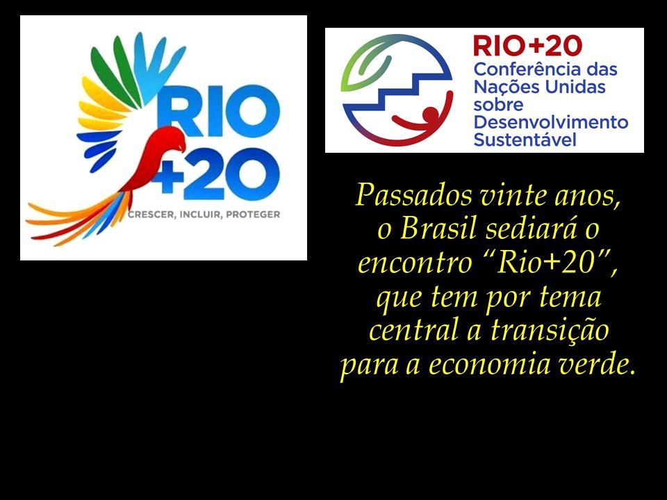 Passados vinte anos, o Brasil sediará o encontro Rio+20 , que tem por tema central a transição para a economia verde.
